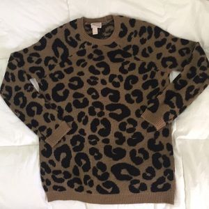 Leopard print pullover sweater